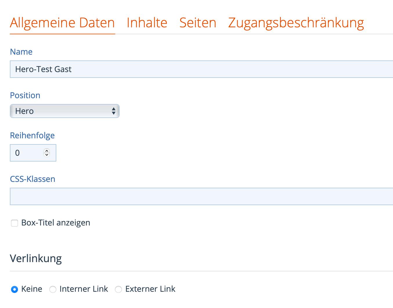"""Box-Einstellungen """"Allgemeine Daten"""""""